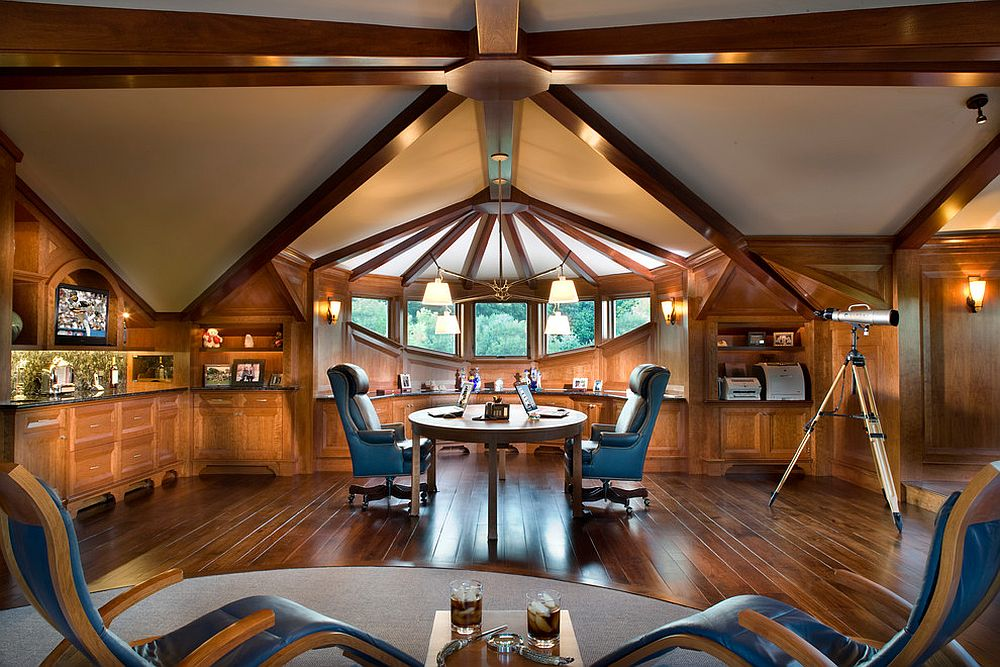 Ceiling beams add stunning geometric beauty to the traditional home office
