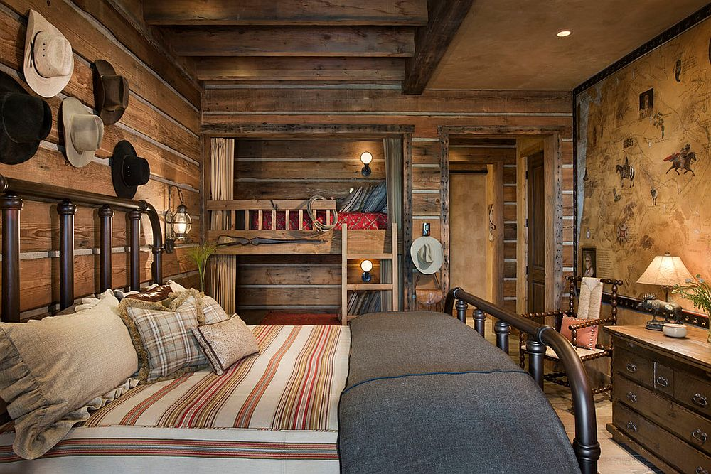 Ceiling beams like an organic part of the rustic bedroom