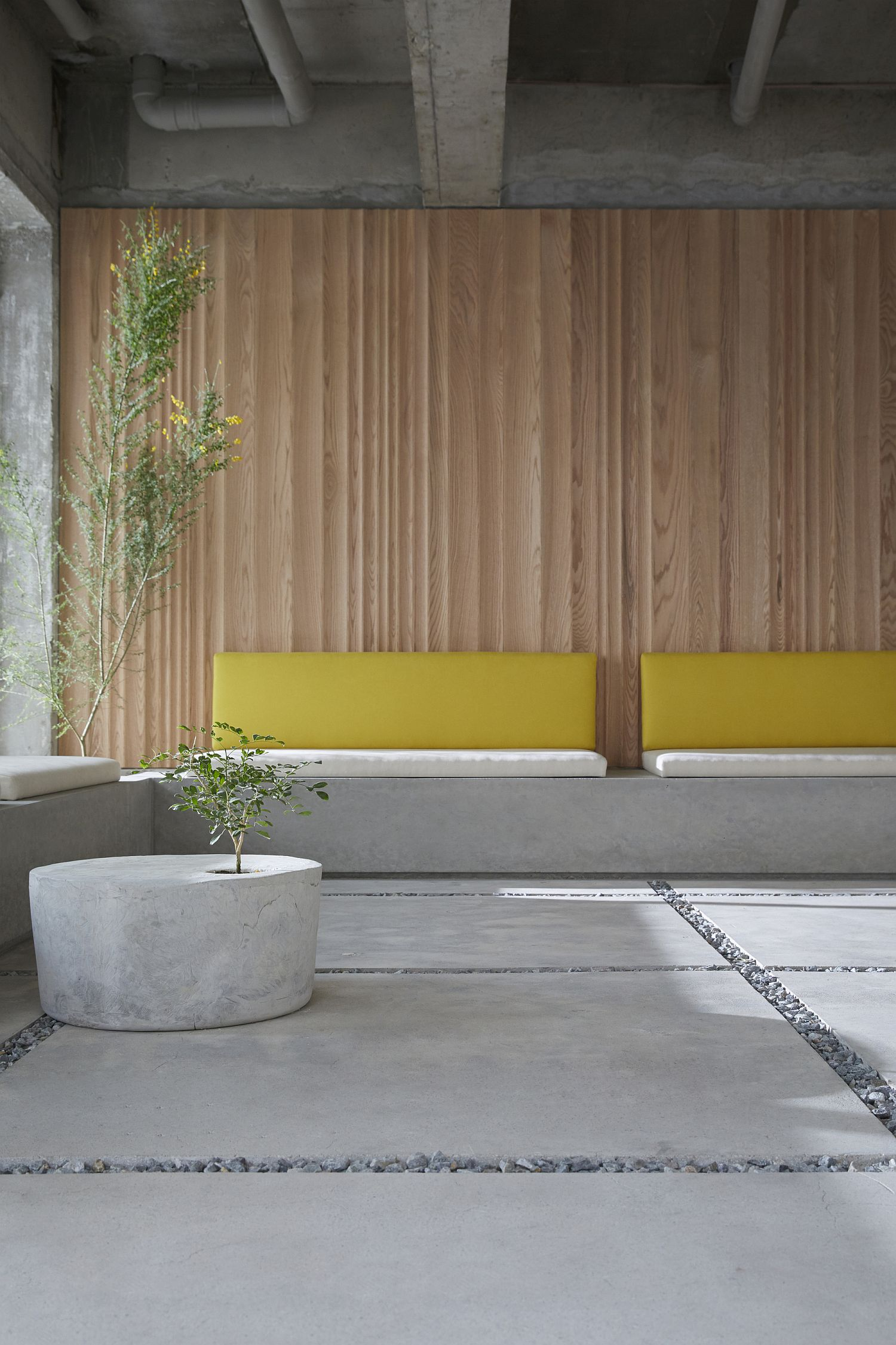 Concrete benches along with comfy cushions provide plenty of sitting space