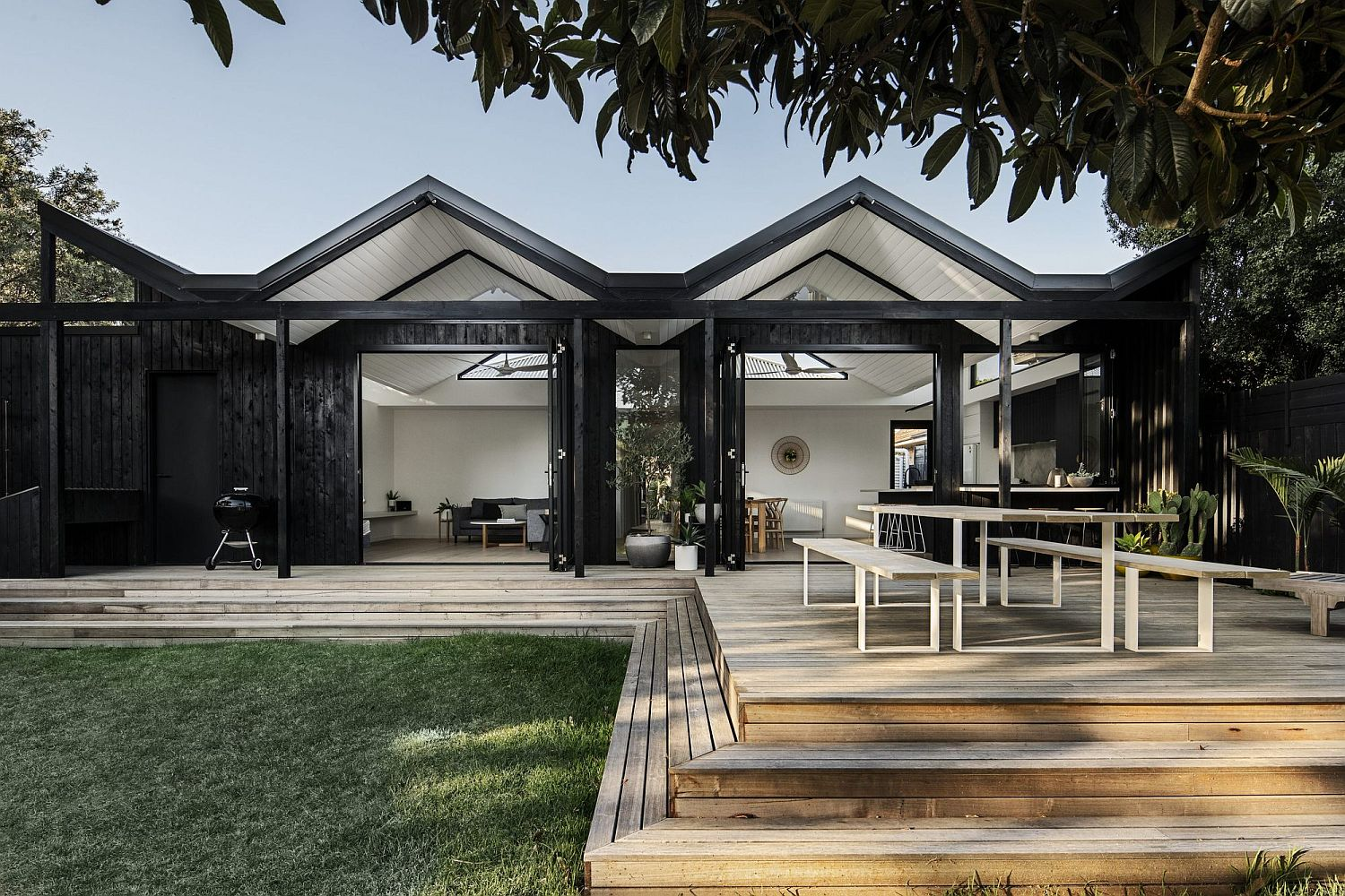 Contemporary rear extension of old weatherboard home in the suburbs of Melbourne