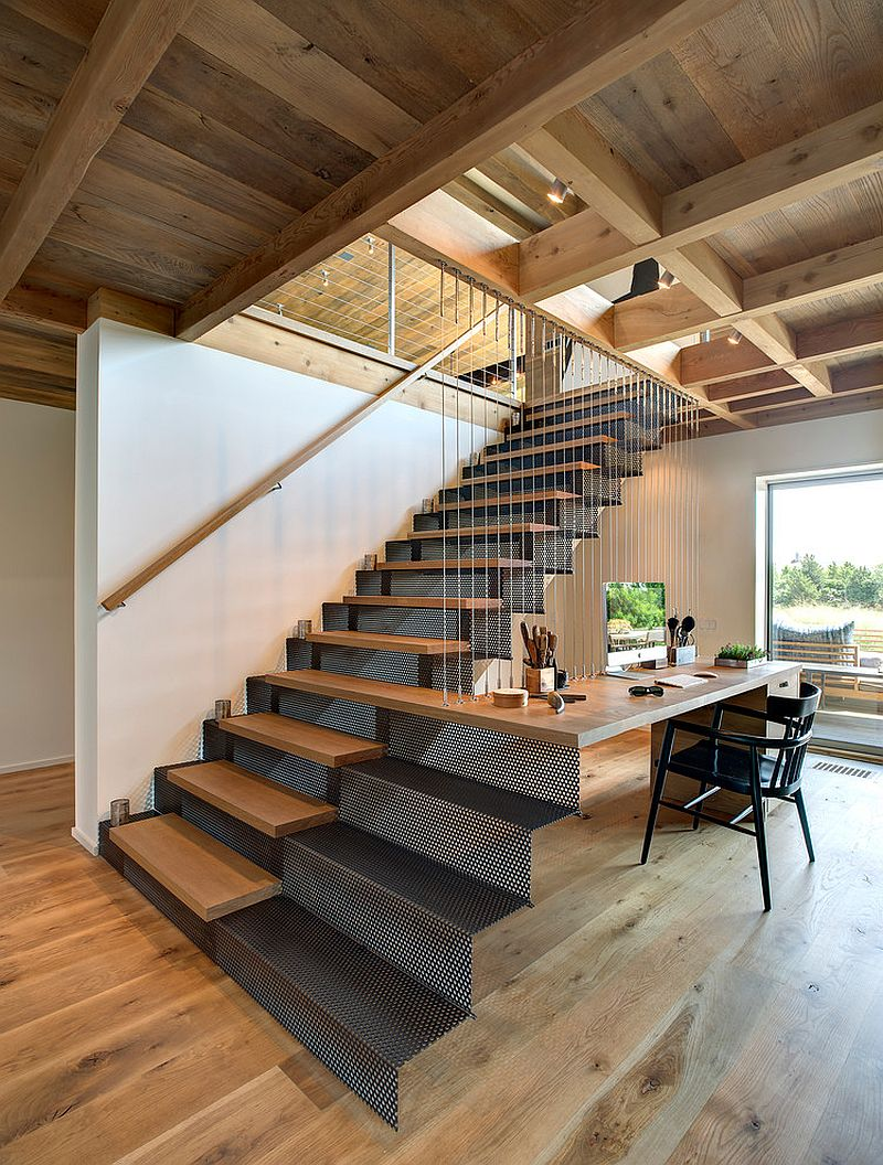 Contemporary work station feels like a natural extension of the staircase