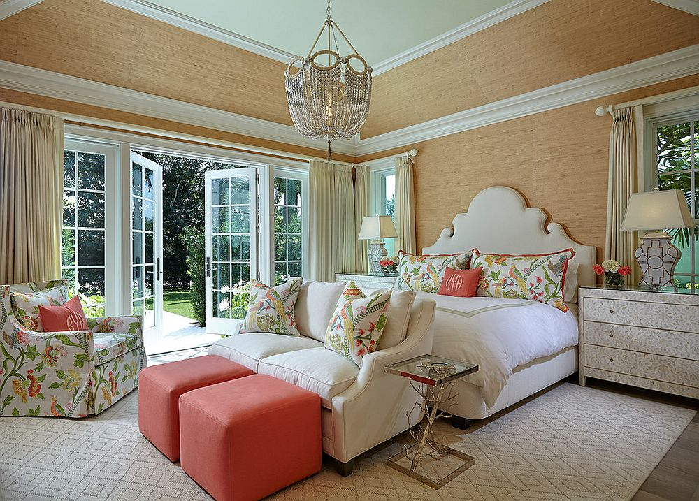 Coral pops and accents along with floral pattern for the bedroom
