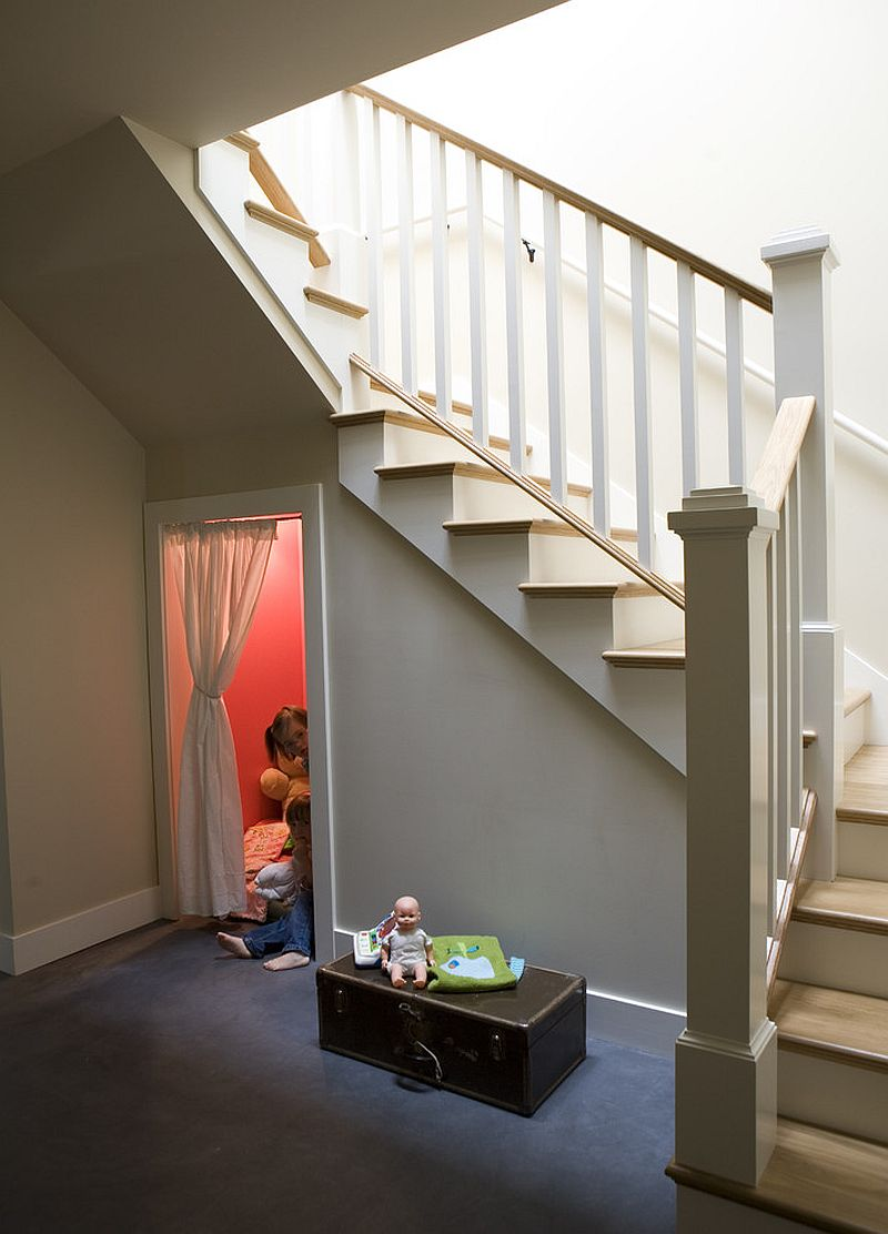 Create a cool kids' hangout under the stairway