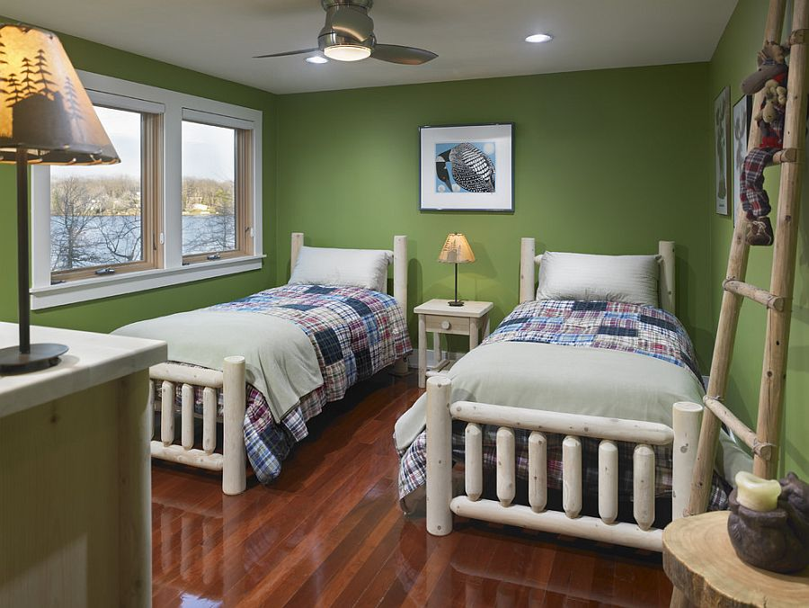 Custom decor for the bedroom in green is easy to spot