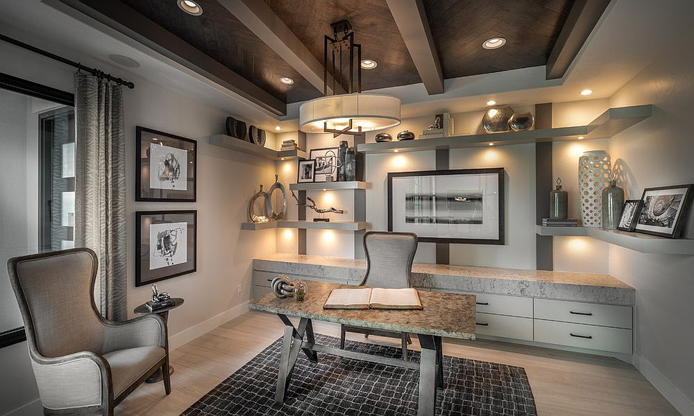 Dark-ceiling-beams-for-the-contemporary-home-office-in-white