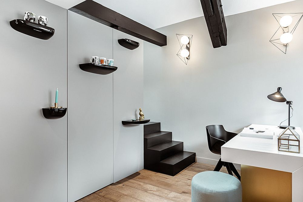 Dashing ceiling beams look great in the minimal home office