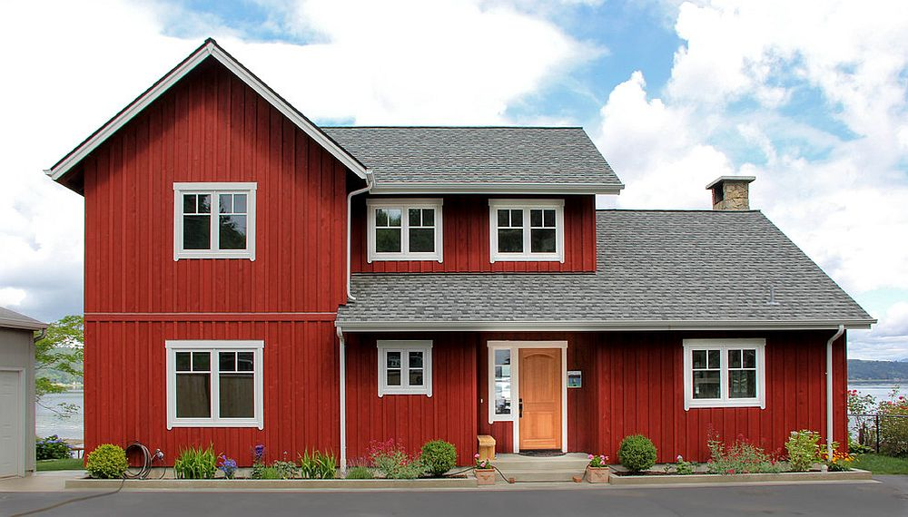 Dashing-red-and-gray-exterior-of-the-Scandinavian-style-home