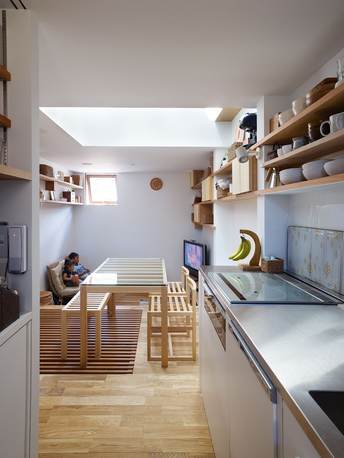 Daytime sees a flood of natural light flow into the living area