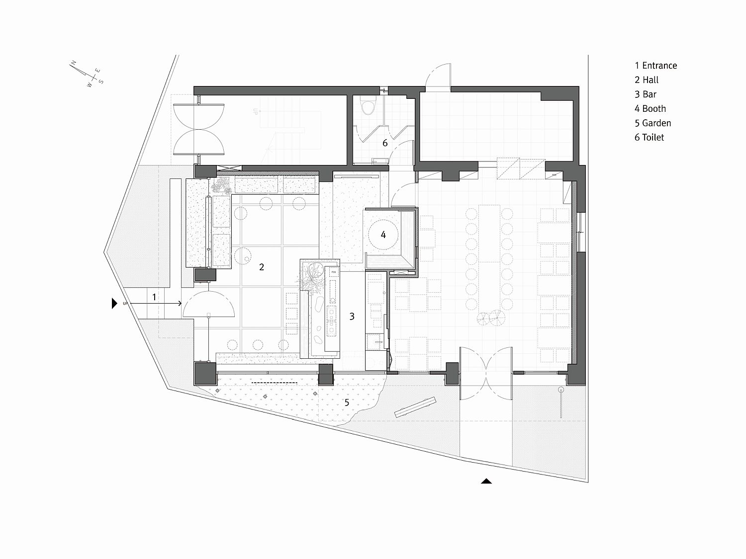 Design plan of the minimal coffee house in South Korea
