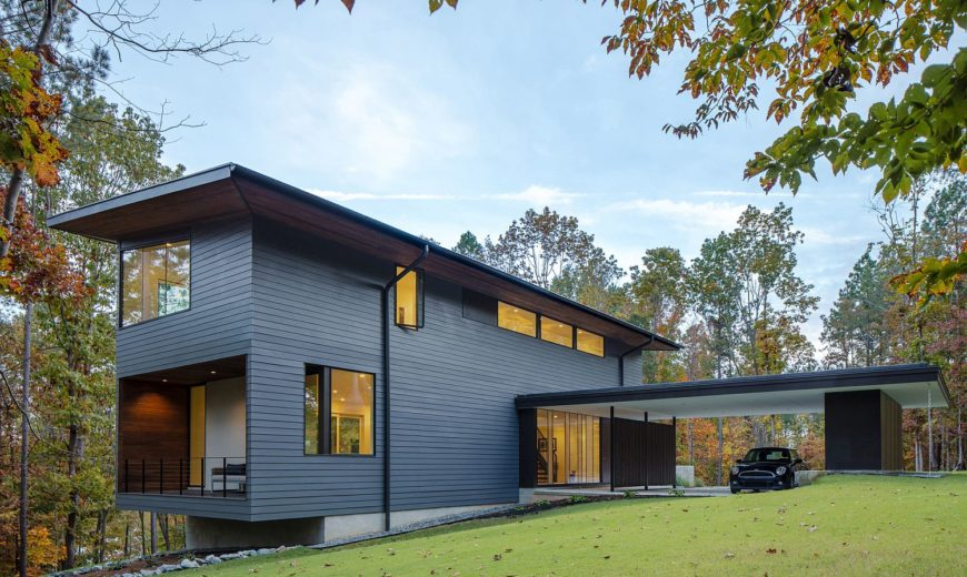 Merkel Cooper Residence: Gray Sophistication Engulfed in Woodsy Charm