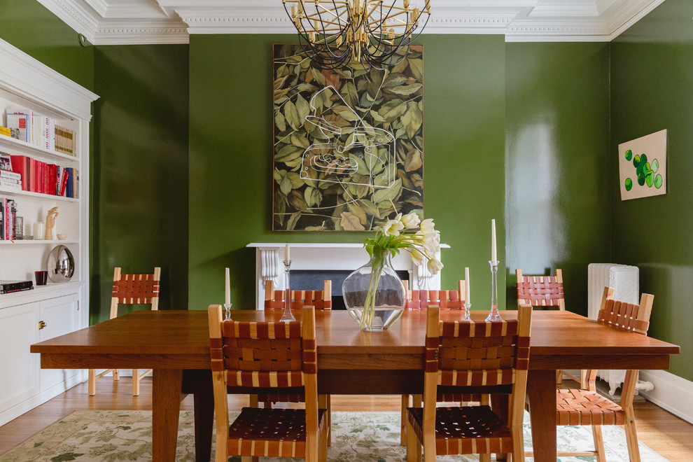 Gorgeous green tropical syle dining room