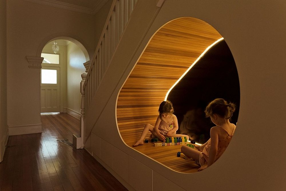 Innovative pod under the staircase acts as a lovely kids' play area