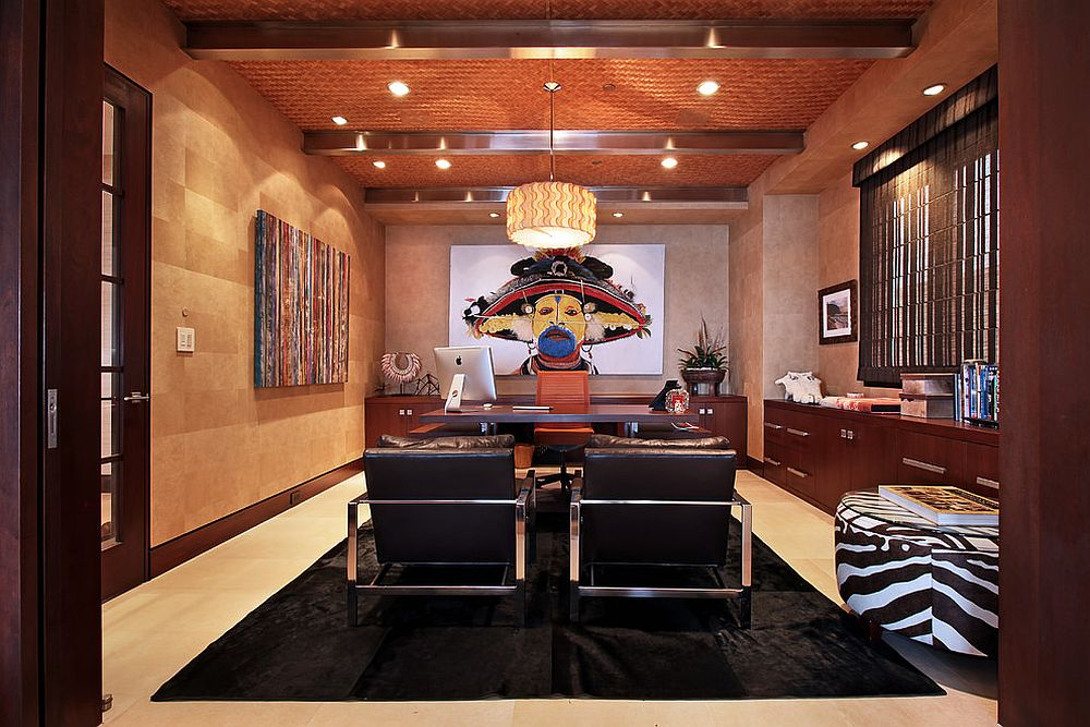 It is the ceiling that draws your attention here with its color, texture and ceiling beams