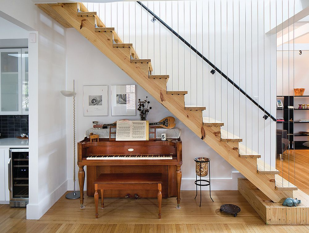 Let your musical interests thrive in the small space underneath the staircase