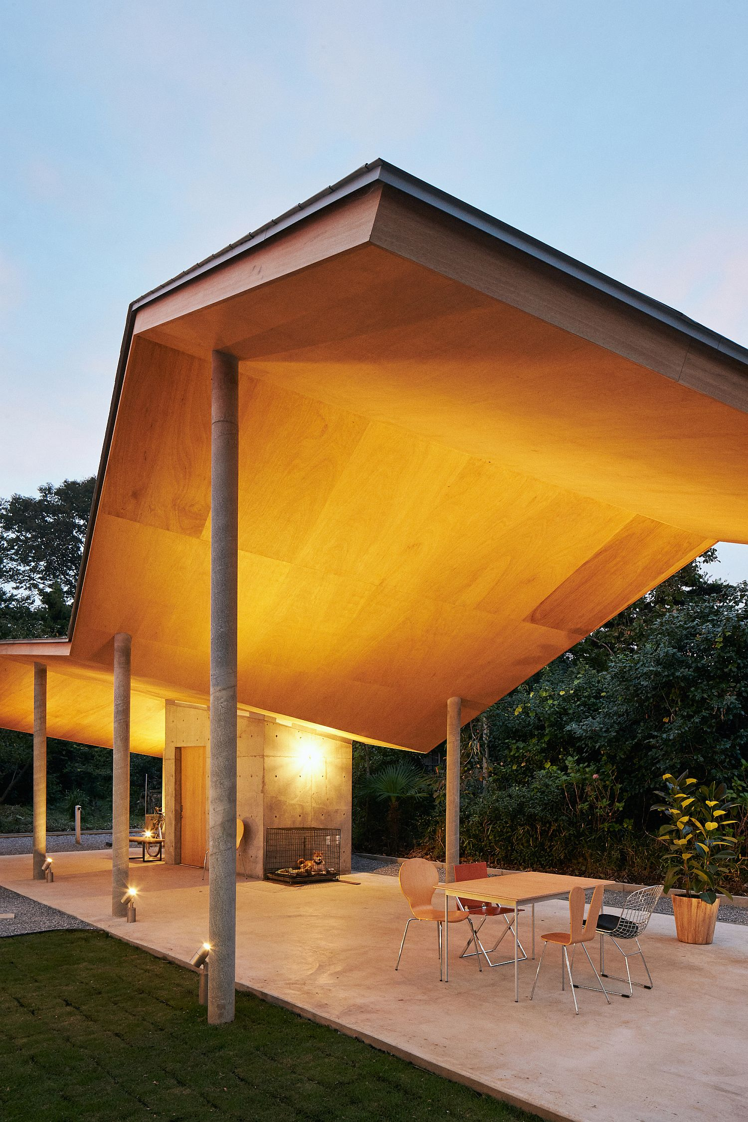 Lighting enhances the visual appeal of the wavy roof form