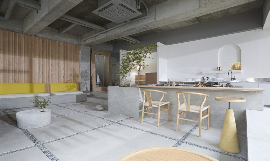 Modern Minimal Coffee House in South Korea Brings Outdoors Inside