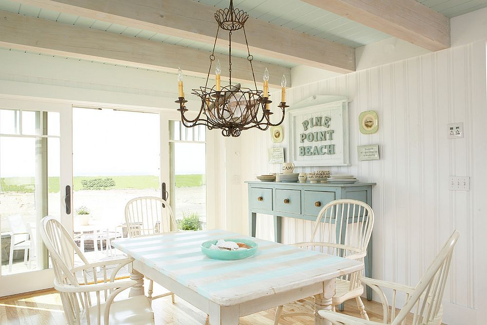 Perfect breezy beach style dining room with connectivity to the outdoors