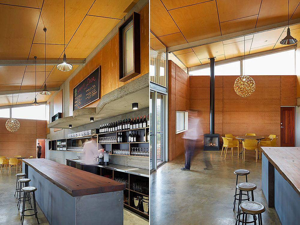 Plywood, sand-blasted concrete and metal shape the interior of the winery