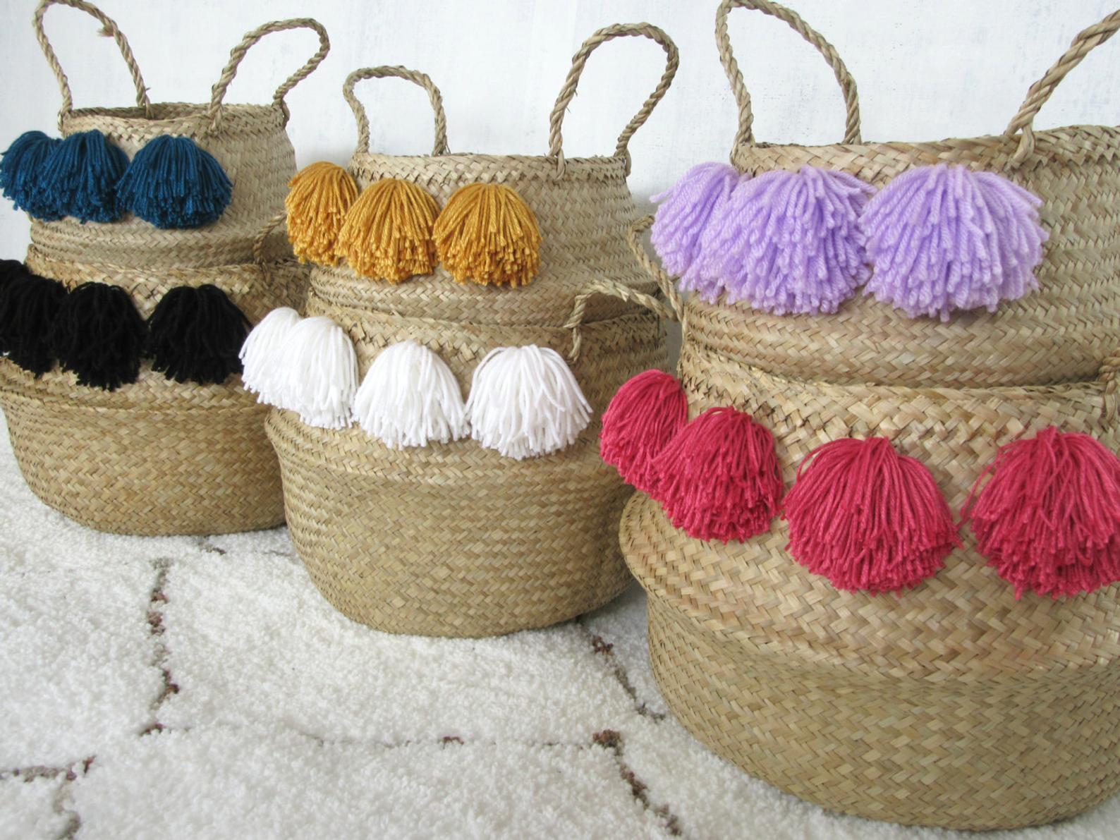 Pom Pom baskets from Etsy shop Nomad Cloth