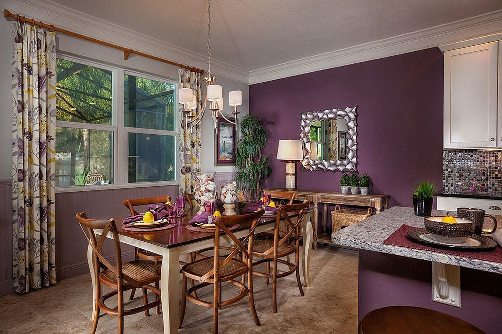 Purple unites the tropical dining room with kitchen next to it in the same hue