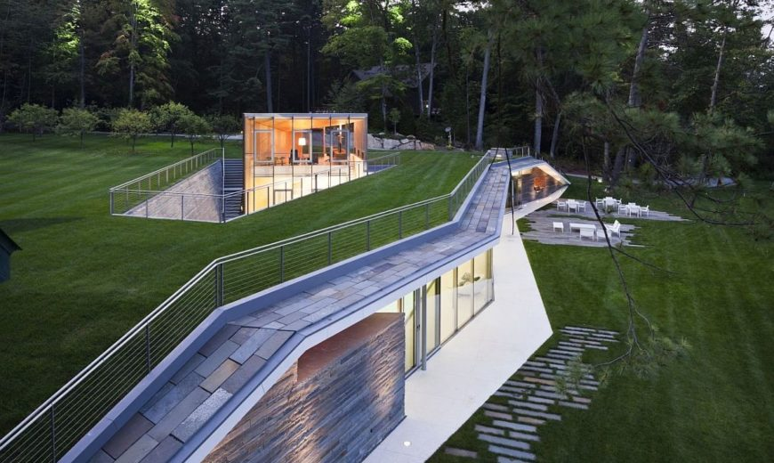 Carved into the Landscape: Stunning Recreational Facility and Office with Ample Green