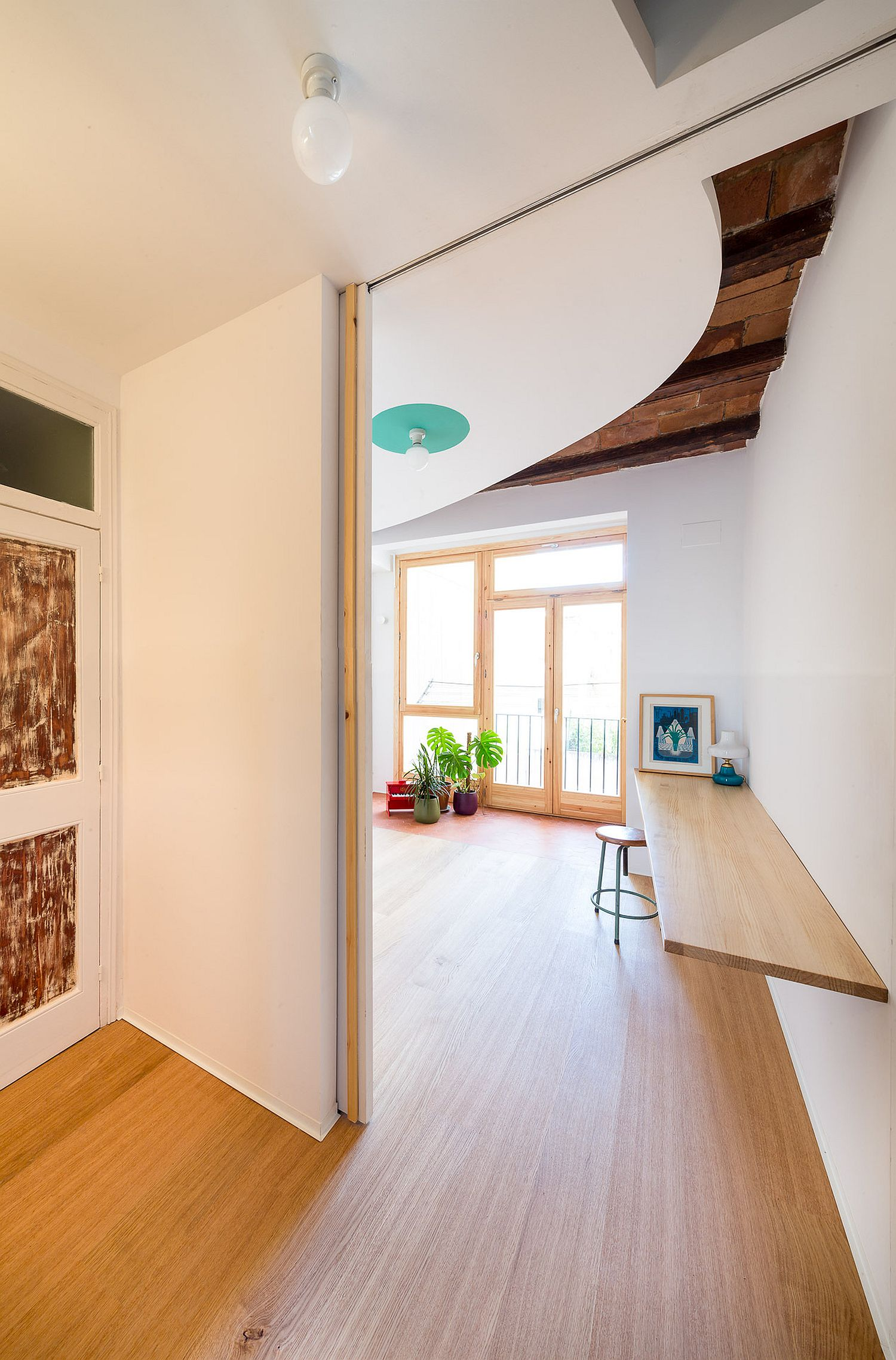 Sliding doors save space while allowing light to pass through