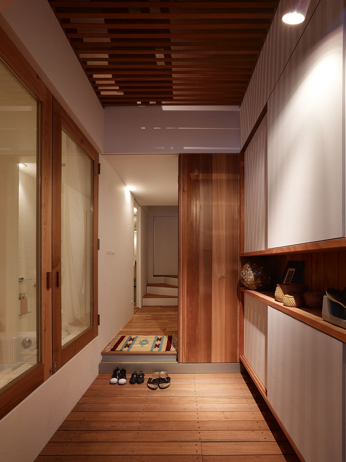 Sliding doors save space while creating a cool entry