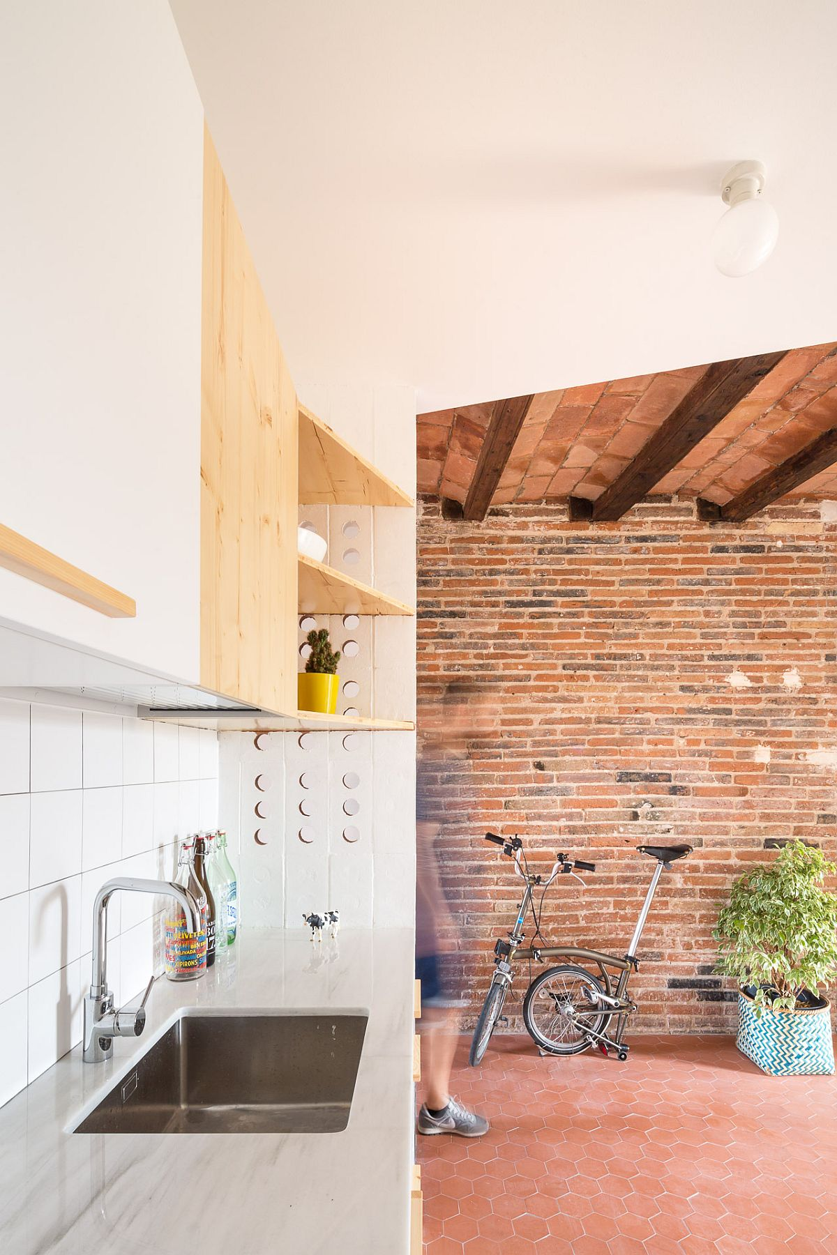 Small and elegant kitchen of Laia House in Barcelona
