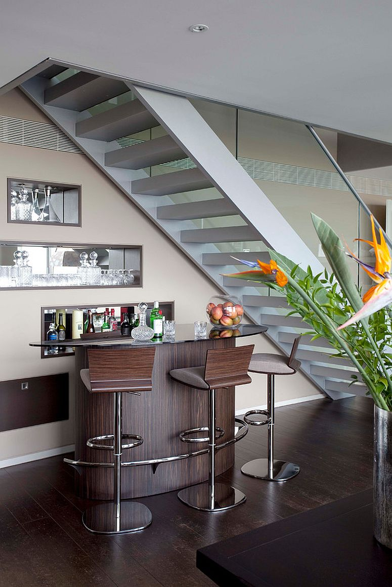 Small contemporary home bar underneath the staircase