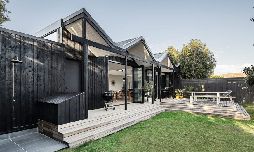 Folded Roof in Charred Cypress Creates a Stunning Modern Extension Down Under!