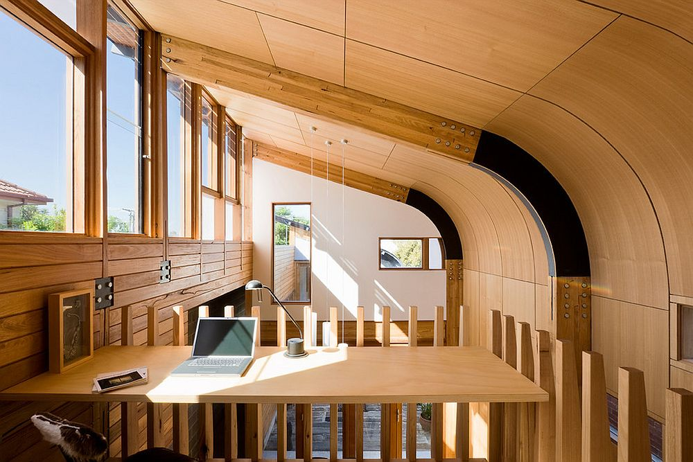 Stylish curved ceiling beams move away from the more boring, traditional versions