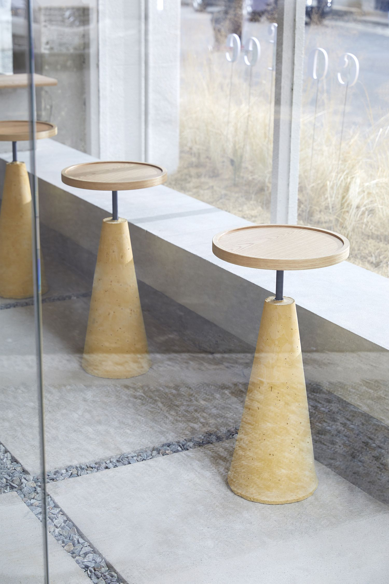 Unique stools offer a casual and elegant sitting space inside the coffee house