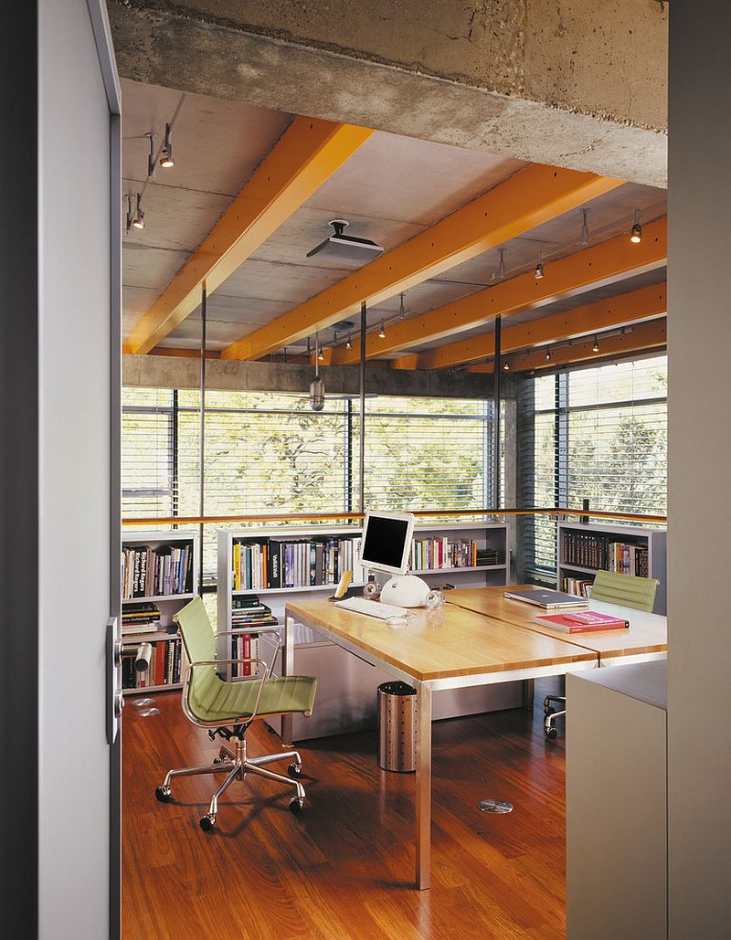Wood and concrete ceiling for the industrial home office