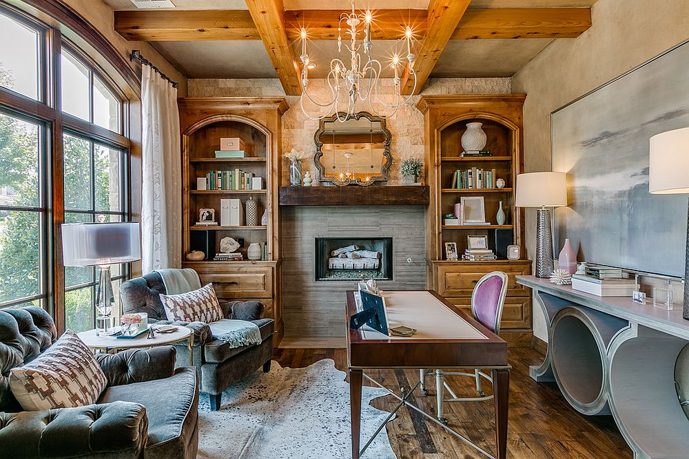 Wooden ceiling beams look good even in the small home office