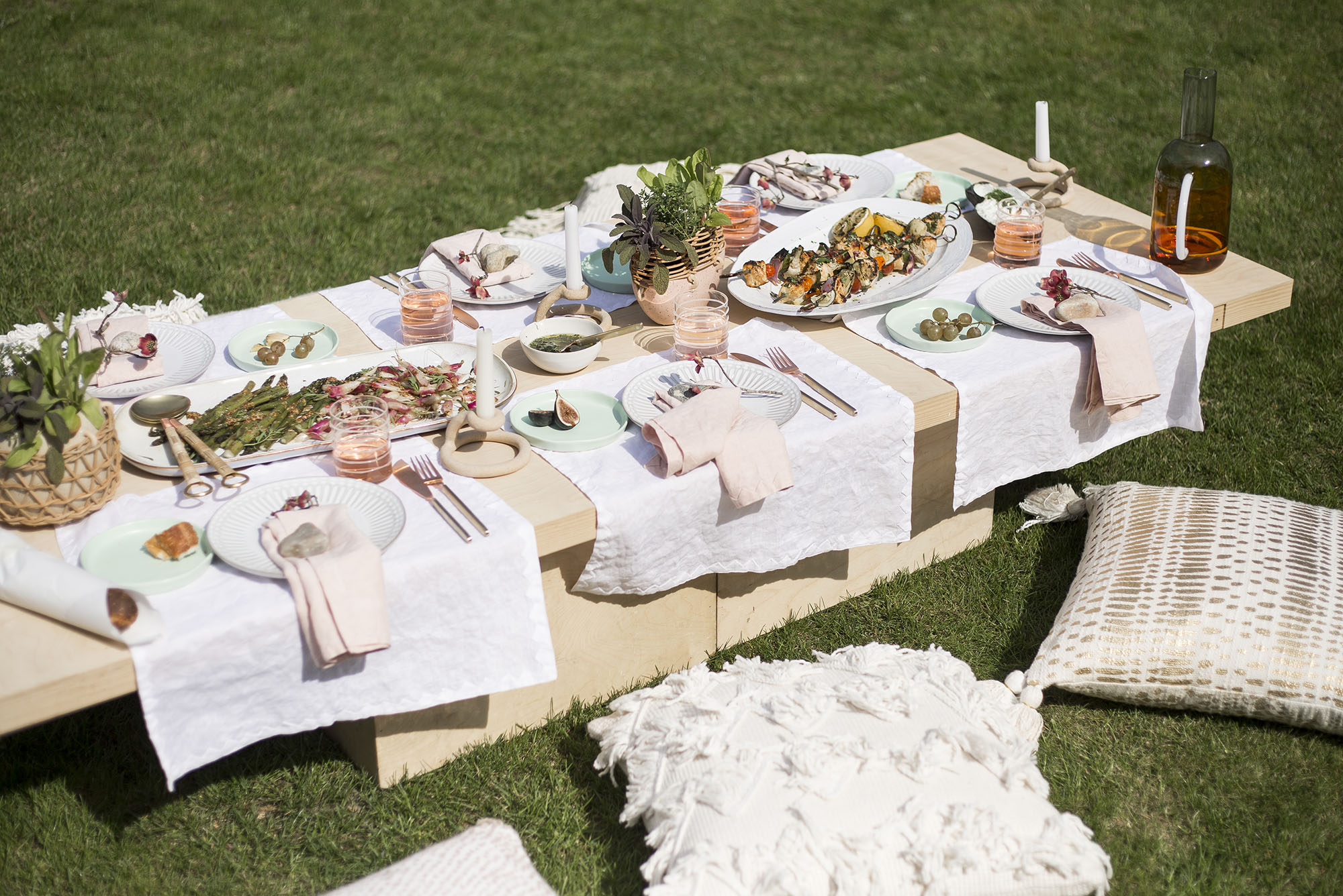 A bountiful outdoor table for a summer kickoff