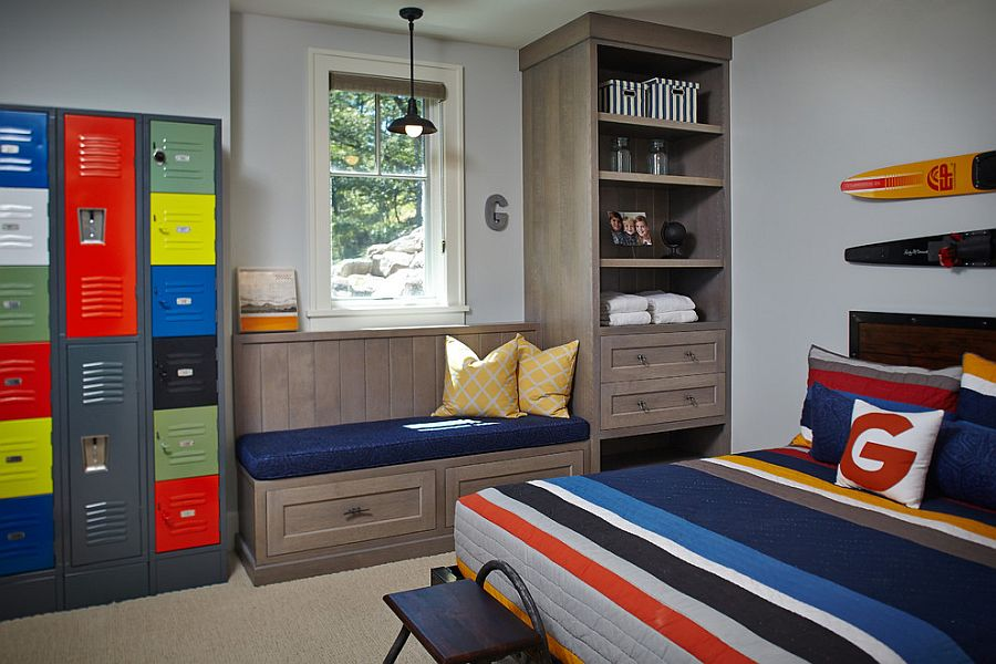Adding color to the gray kids' room with a custom locker storage and bedding