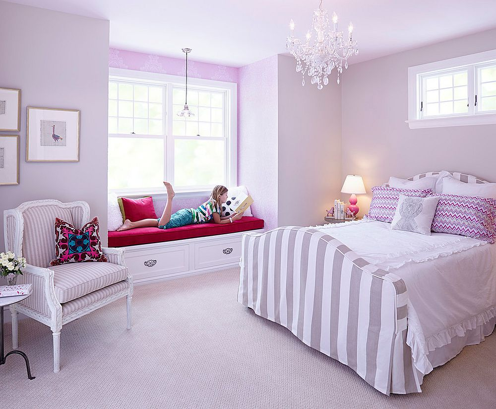 All-violet kids' bedroom with ample natural light and a lovely chandelier