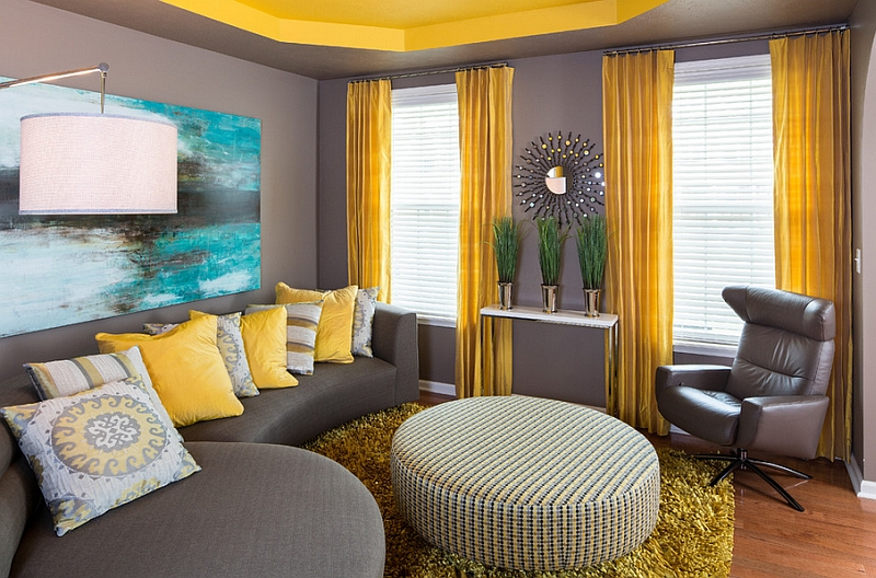 Balance between gray and yellow in this modern living room is just perfect