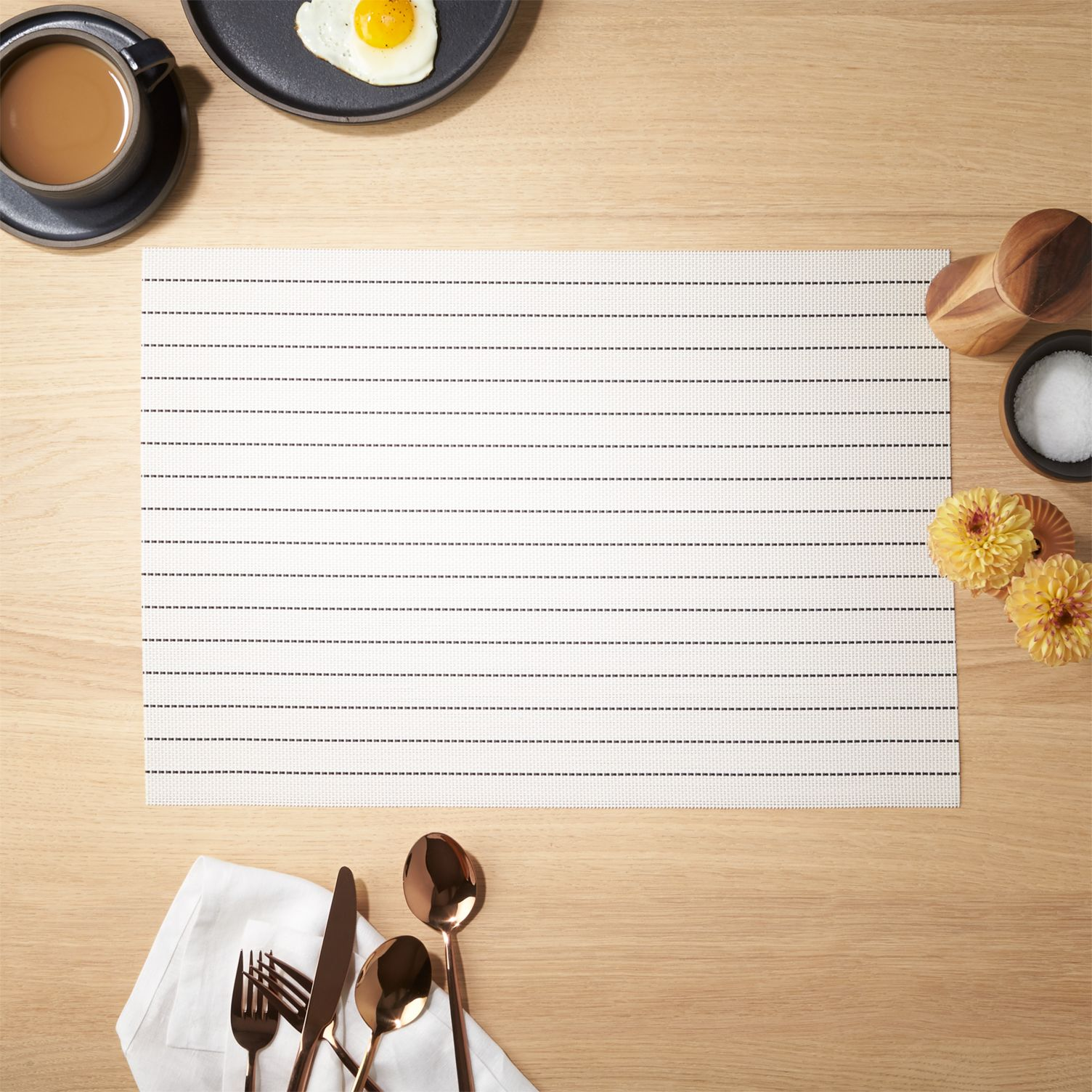 Black and white striped placemat