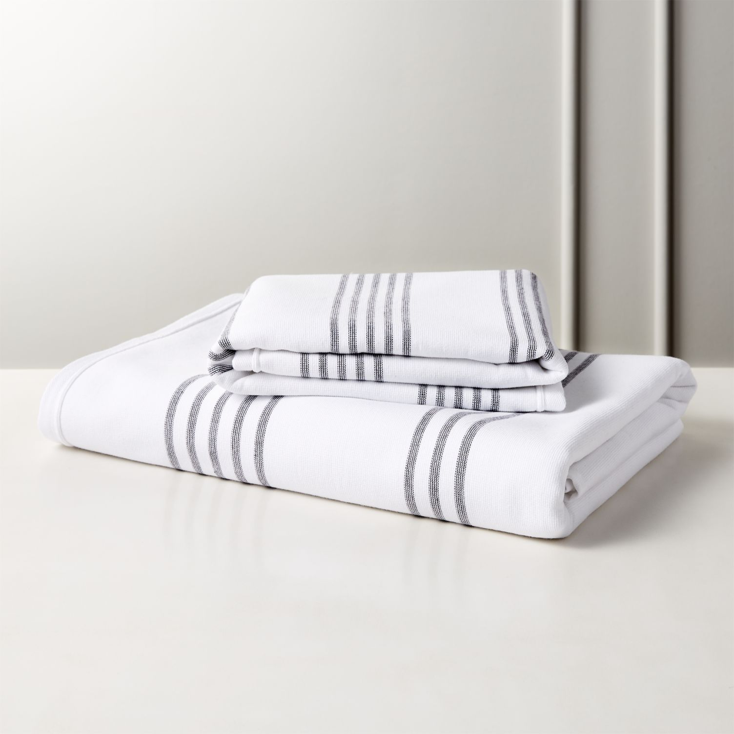Black and white striped towels from CB2