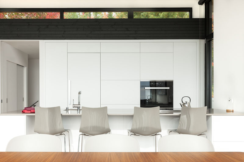 Contemporary kitchen with minimal cabinets in white that create a lovely backdrop