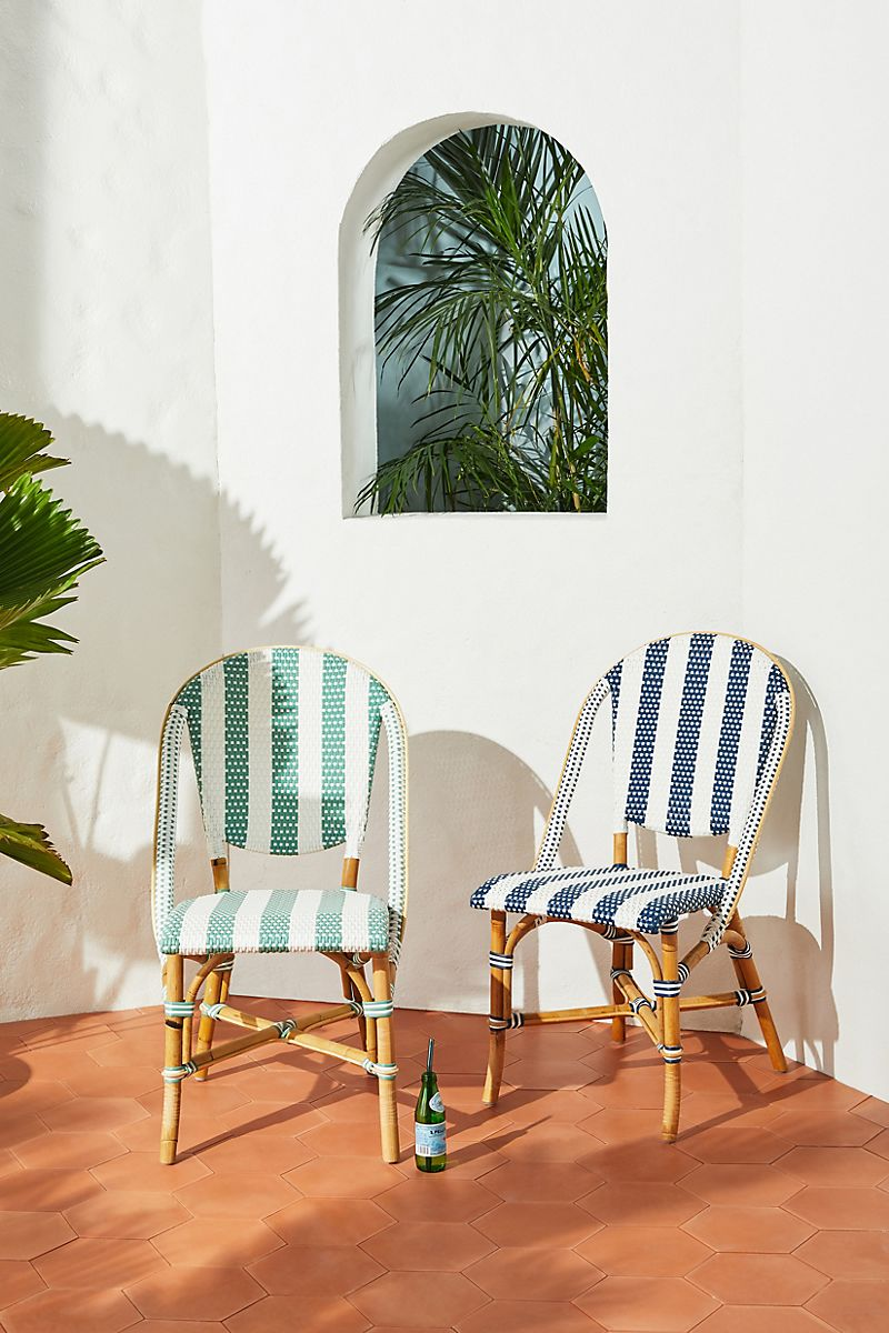 Create outdoor seating areas with bistro chairs