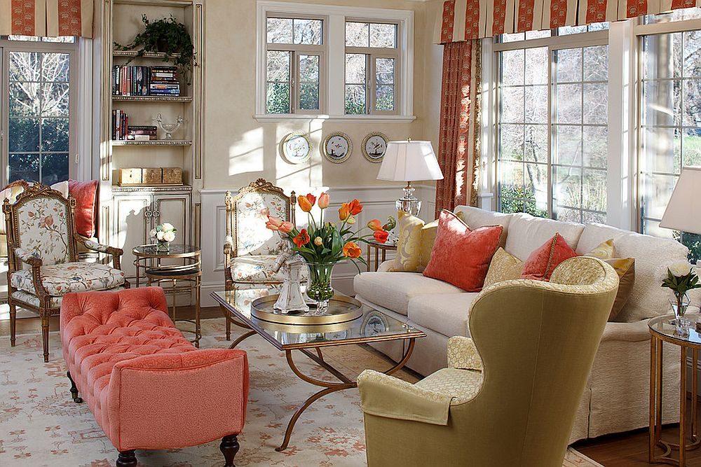 Decor and accents in coral enliven the living room