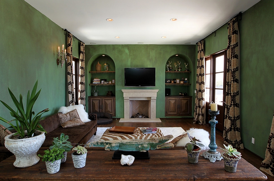 Delightful Mediterranean style living room with textured green walls
