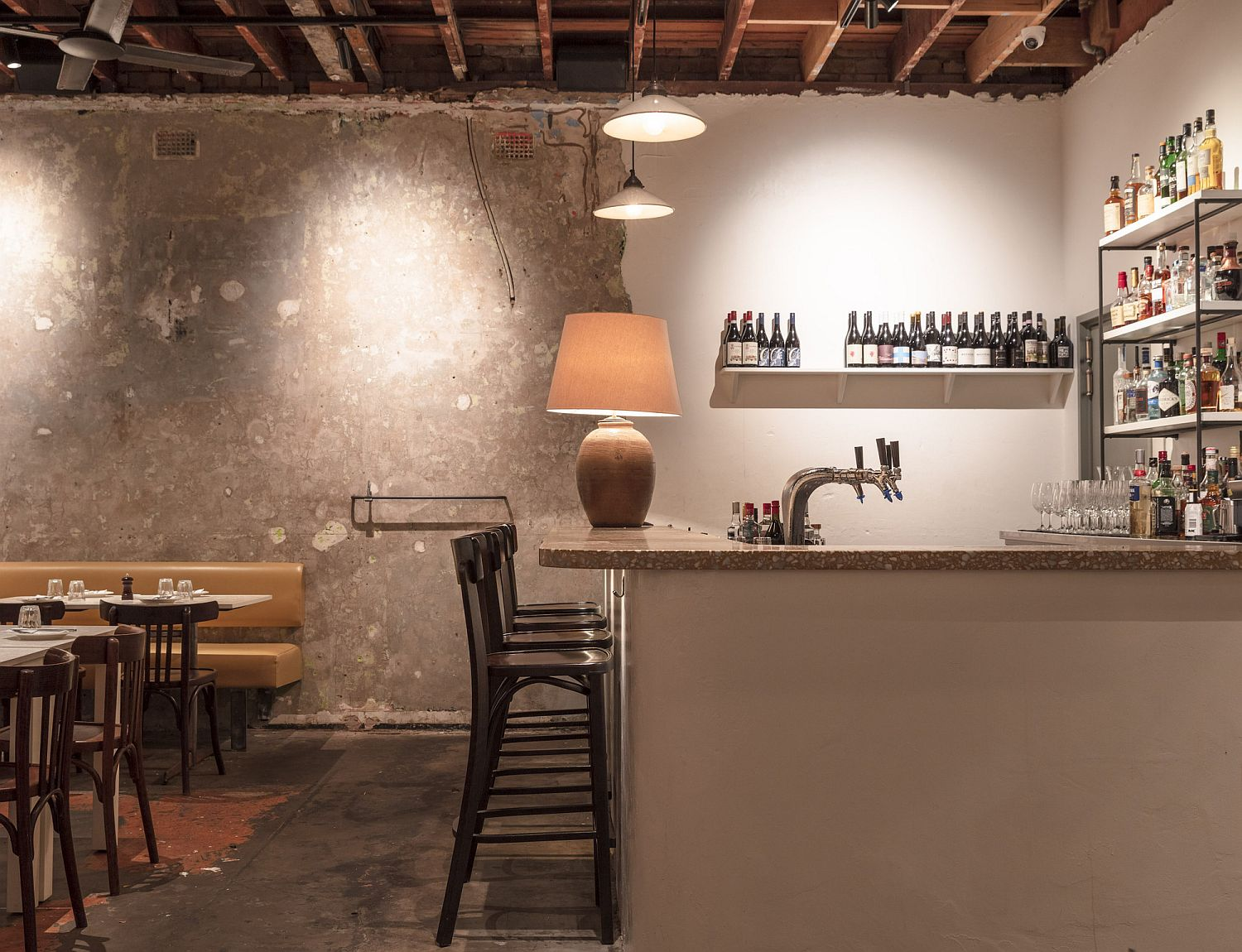 Different textured finishes inside the restaurant give it a smart appeal