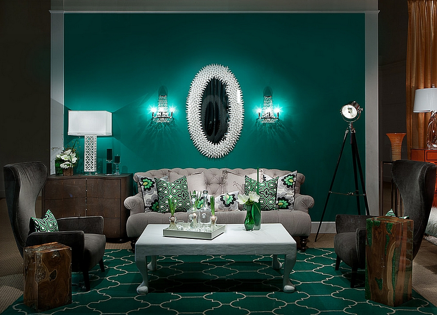 Emerald green living room for those who love the jewel-toned look
