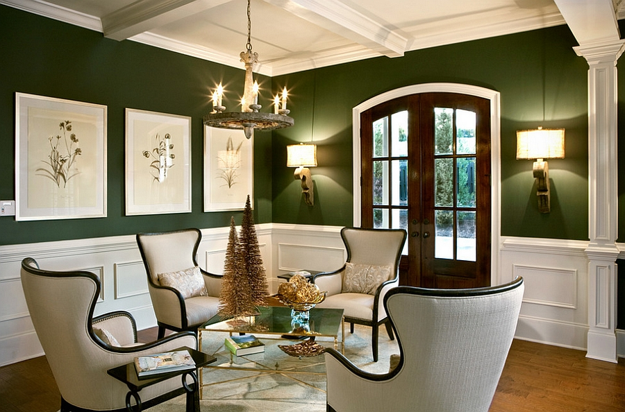 Exquisite use of dark green in the living room