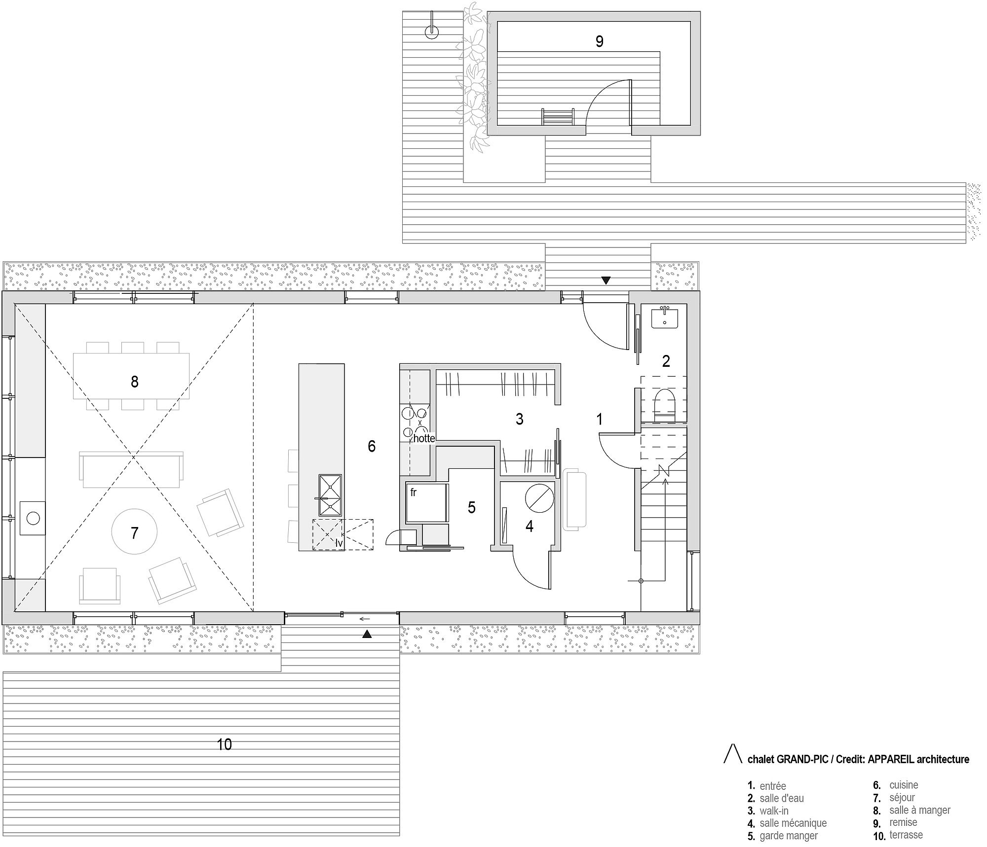 First level floor plan of Grand-Pic Chalet