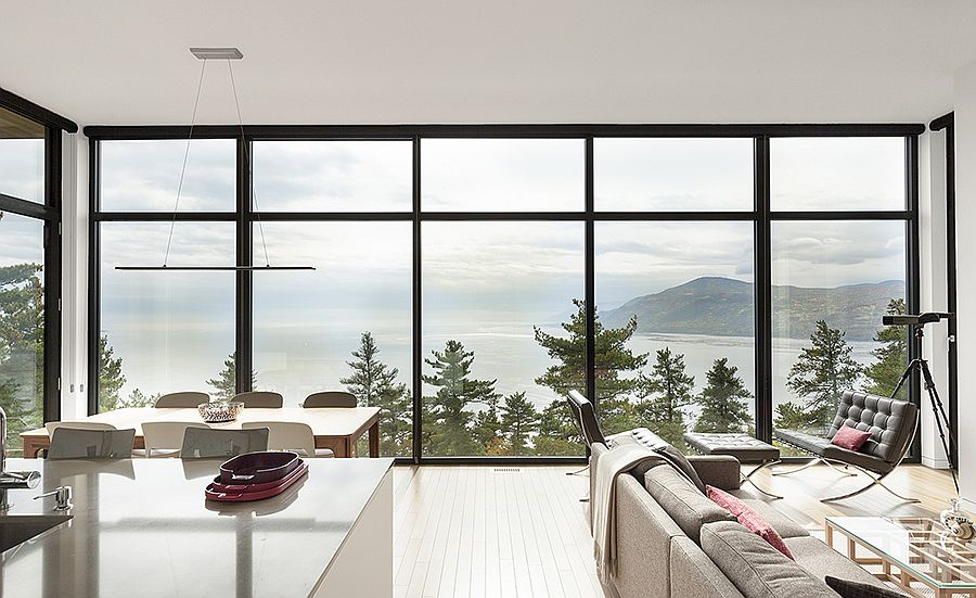 Framed glass walls bring the lake view inside