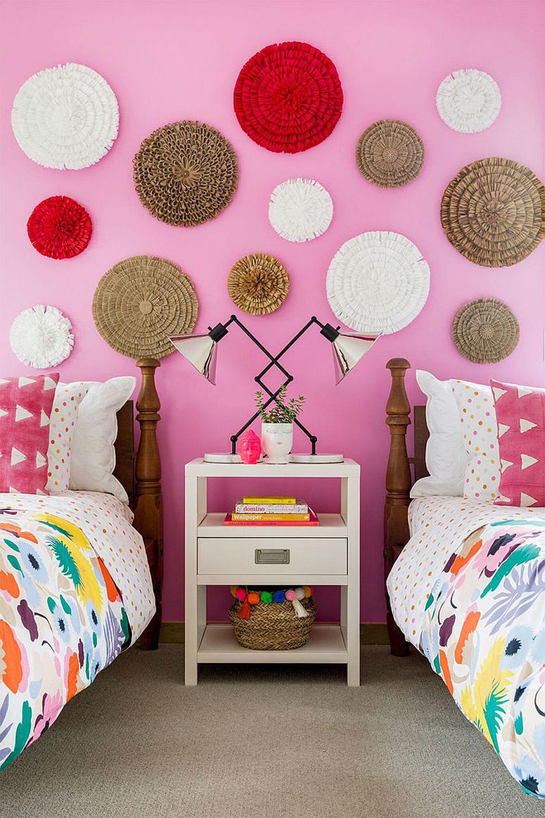 Fun use of bold color along with pink in the kids' bedroom